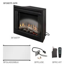 """See Details - Dimplex 39"""" Standard Built In Fireplace With the Glass Pane Kit, Plug Kit, and Remote Control Accessories"""