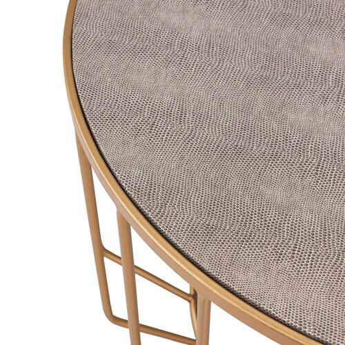 Halton KD Faux Shagreen Round Coffee Table Set of 2, Chronicle Gray