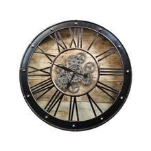 See Details - Round Venetian Woodgrain Gear Clock
