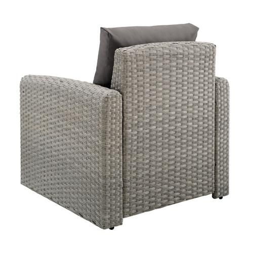 Accentrics Home - Wicker-Look Upholstered Outdoor Accent Chair in Cygnet Gray
