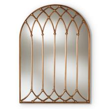See Details - Baxton Studio Freja Vintage Farmhouse Antique Bronze Finished Arched Window Accent Wall Mirror
