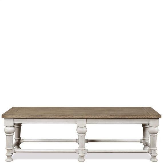 Riverside - Southport - Dining Bench - Smokey White/antique Oak Finish