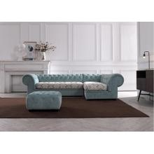 Divani Casa Metropolitan Mini Transitional Light Blue Fabric Sectional & Ottoman