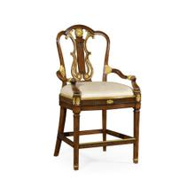 See Details - Neo-Classical Gilded Lyre Back Bar stool armchair, Upholstered in MAZO