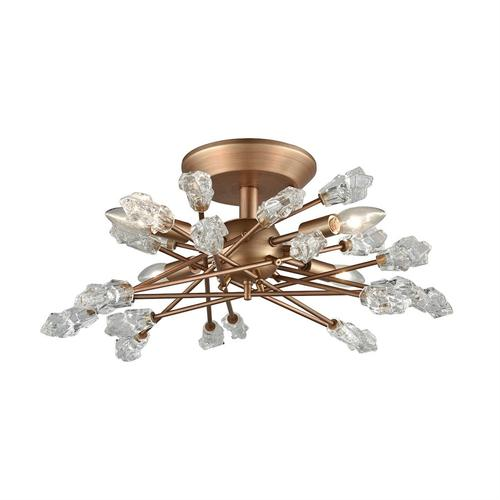 Serendipity 4-Light Semi Flush in Matte Gold with Clear Bubble Glass