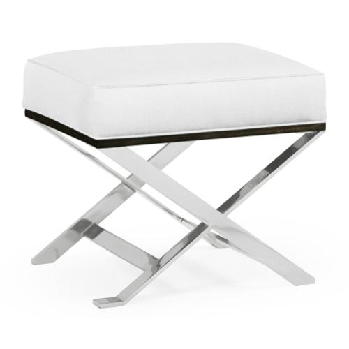 Contemporary White Stainless Steel Stool, Upholstered in COM by Distributor