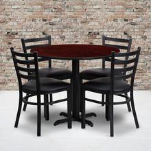 Product Image - 36'' Round Mahogany Laminate Table Set with X-Base and 4 Ladder Back Metal Chairs - Black Vinyl Seat
