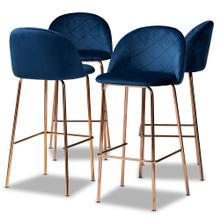 See Details - Baxton Studio Addie Luxe and Glam Navy Blue Velvet Fabric Upholstered and Rose Gold Finished 4-Piece Bar Stool Set