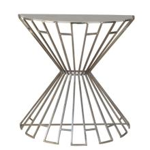 Metal & Marble Demilune Console, Silver