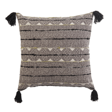 Black & White Block Print with Embroidered Stripe Pillow