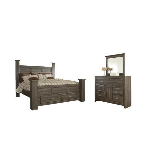 King Poster Bed With 2 Storage Drawers With Mirrored Dresser