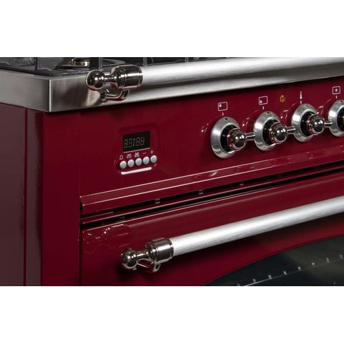 Nostalgie 30 Inch Dual Fuel Natural Gas Freestanding Range in Burgundy with Chrome Trim