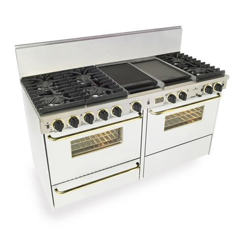 """60"""" Dual Fuel, Convect, Self Clean, Sealed Burners, White with Brass"""