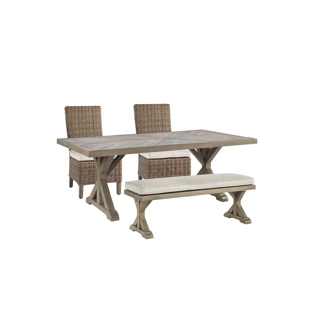 See Details - Outdoor Dining Table and 2 Chairs and 2 Benches