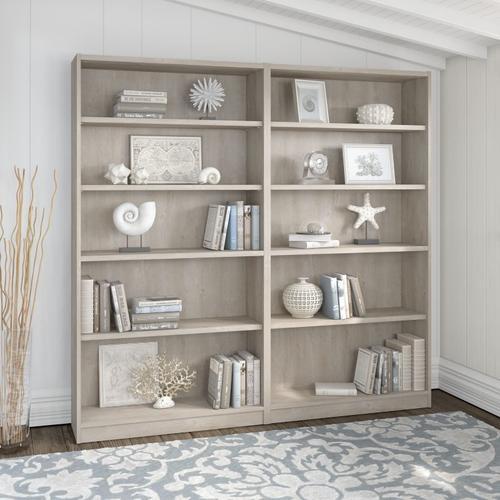 Universal Bookcases 5 Shelf Bookcase Set of 2 - Washed Gray