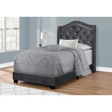 BED - TWIN SIZE / DARK GREY VELVET WITH CHROME TRIM