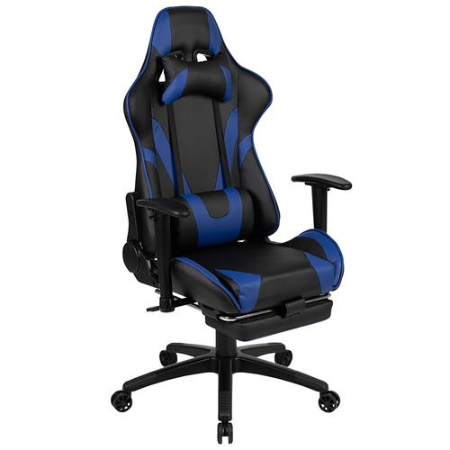 Gallery - Red Gaming Desk with Cup Holder\/Headphone Hook & Blue Reclining Gaming Chair with Footrest