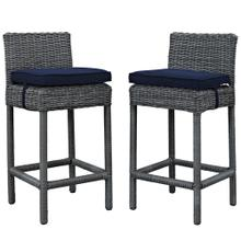 Summon 2 Piece Outdoor Patio Sunbrella® Pub Set in Canvas Navy