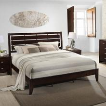 See Details - Gloria Brown Cherry Finish Wood QUEEN & KING Size Bed, Queen