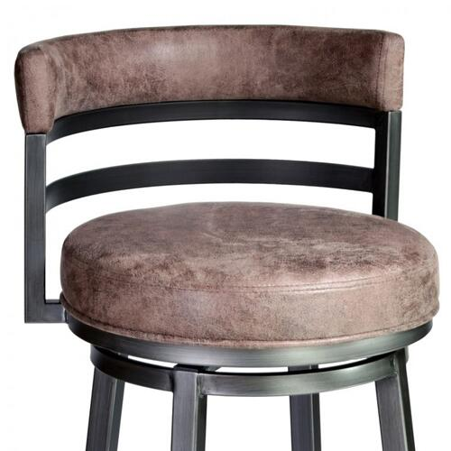 "Armen Living Madrid 26"" Barstool in Mineral finish with Bandero Tobacco upholstery"