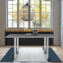 See Details - Fenton Dining Table with Gray Top and Brushed Stainless Steel Base