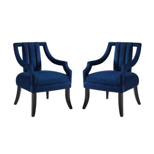 Harken Accent Chair Performance Velvet Set of 2 in Navy
