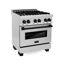 """View Product - ZLINE Autograph Edition 30"""" 4.0 cu. ft. Dual Fuel Range with Gas Stove and Electric Oven in Stainless Steel with Accents (RAZ-30) [Color: Matte Black]"""