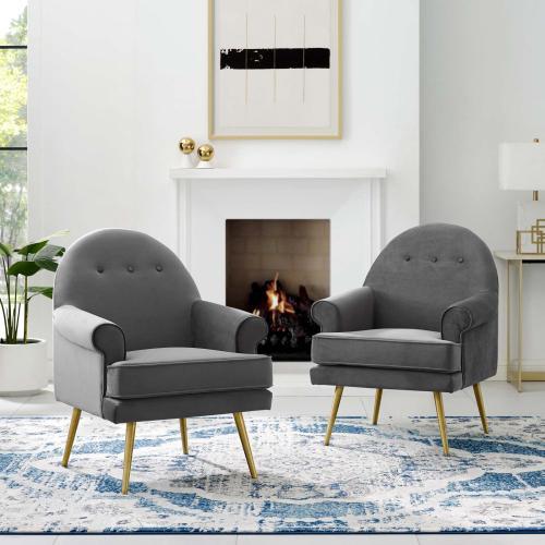Modway - Revive Armchair Performance Velvet Set of 2 in Gray