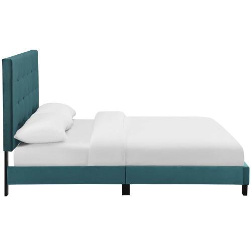 Melanie Full Tufted Button Upholstered Performance Velvet Platform Bed in Sea Blue