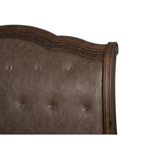 Complete Cal.King Sleigh Storage Bed w/Upholstered HB
