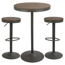 Dakota Pub Set - Grey Metal, Brown Bamboo
