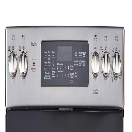 "GE Profile 30"" Freestanding Self-Clean Electric Range with Convection Stainless Steel - PCB940YKFS"