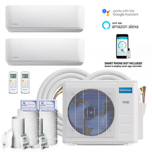 DIY MULTI 18000 BTU 2.25 Ton 2-Zone Ductless Mini-Split Air Conditioner & Heat Pump w/ 16 ft. Install Kit, 230-Volt/60Hz