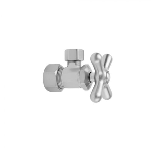 "Satin Nickel - Multi Turn Angle Pattern 5/8"" O.D. Compression (Fits 1/2"" Copper) x 3/8"" O.D. Supply Valve with Cross Handle"