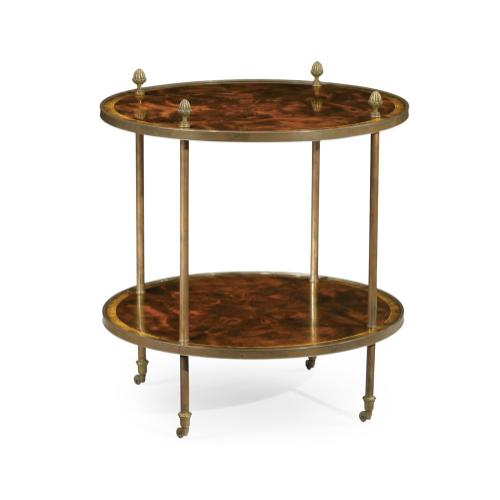 Brass mounted serving table