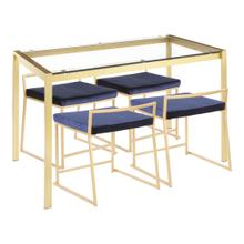 Fuji Dinette Set - Gold Metal, Clear Glass, Blue Velvet