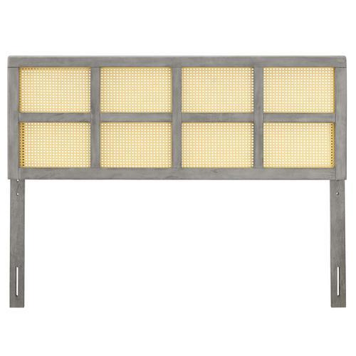 Modway - Luana Cane King Headboard in Gray