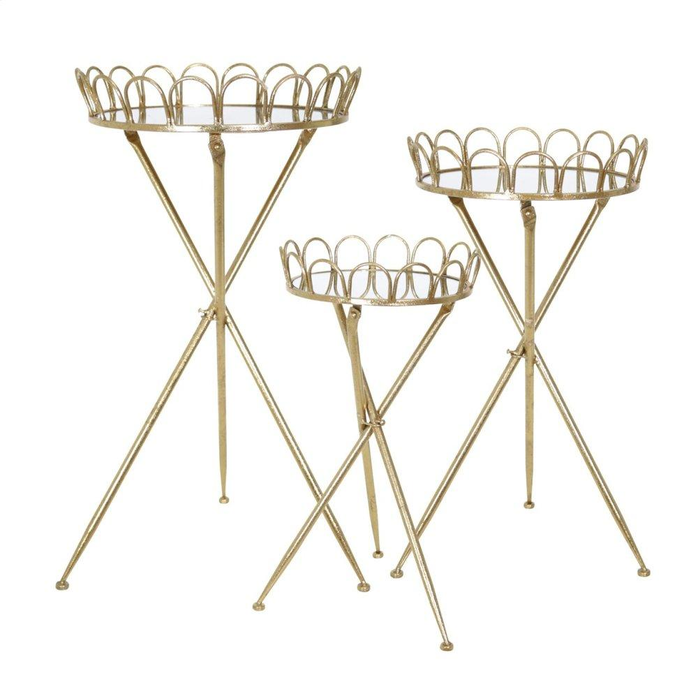 "S/3 Metal Accent Tables 32/28/24"", Gold Kd"