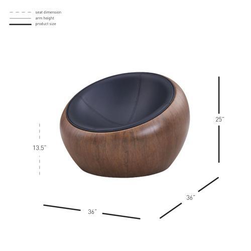 Langton Accent Arm Chair Dark Walnut Frame, Monaco Black