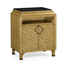 See Details - Natural Oak Nightstand with Marble Top