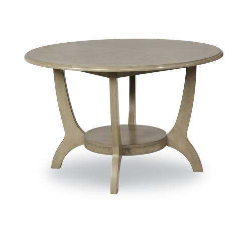 1 Lower Shelf and Round Top Dining Table, Driftwood Grey