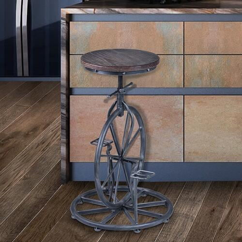 Armen Living Harlem Adjustable Barstool in Industrial Gray finish with Pine Wood seat