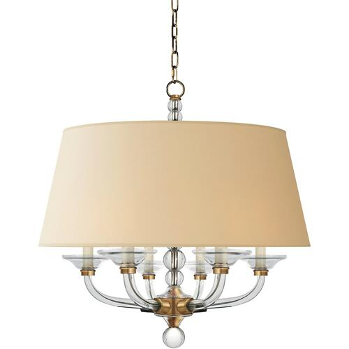 Visual Comfort CHC1526AB-NP E. F. Chapman Stacked Ball 6 Light 30 inch Antique-Burnished Brass Hanging Shade Ceiling Light