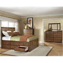 California King Panel Bed, (1) 3 Drawer Rail, (1) 6 Drawer Rail