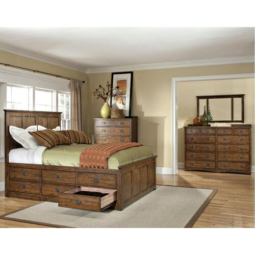 King Panel Bed, (1) 3 Drawer Rail, (1) 6 Drawer Rail