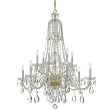 Traditional Crystal 12 Light C lear Crystal Brass Chandelier