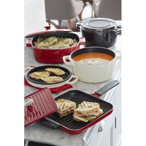 Cast Iron Grill and Panini Press Cookware - Empire Red