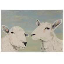 Sheep Duo  Hand Embelished Print on Canvas with Heavy Texture  Wood Stretcher  Hanging Hardware I