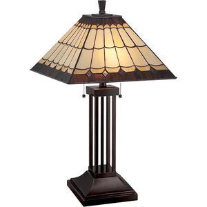 Table Lamp, Dark Bronze/tiffany Shade, E27 Cfl 13wx2