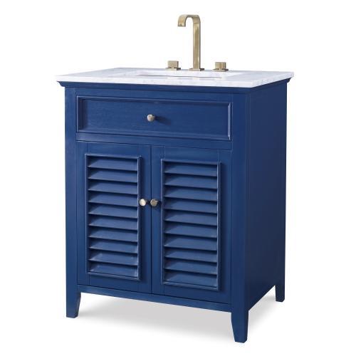 Louvered Medium Sink Chest - Cadet Blue